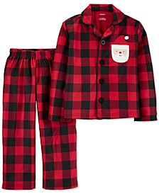 Toddler Boys 2-Pc. Fleece Buffalo Check Santa Pajamas Set