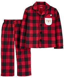 Carter's Toddler Boys 2-Pc. Fleece Buffalo Check Santa Pajamas Set