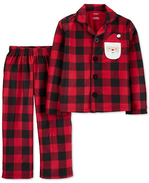 Carter's Toddler Boys 2-Pc. Fleece Buffalo Check Santa Pajamas Set