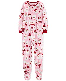 Little & Big Girls 1-Pc. Santa Fleece Footie Pajamas