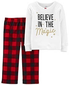 Toddler Girls 2-Pc. T-Shirt & Buffalo Check Pants Pajamas Set