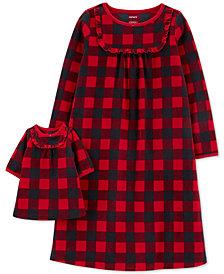 Carter's Little & Big Girls 2-Pc. Buffalo Check & Matching Doll Nightgown