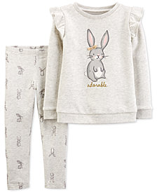 Carter's Baby Girls 2-Pc. Ruffled Bunny Fleece Top & Printed Leggings Set