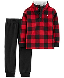 Baby Boys 2-Pc. Buffalo-Check Fleece Pullover & Jogger Pants Set