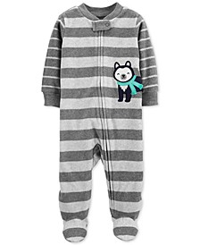 Baby Boys Footed Fleece Husky Dog Coverall