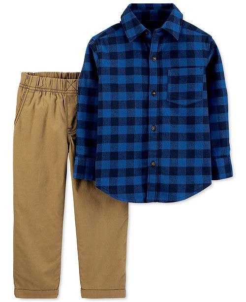 Carter's Baby Boys 2-Pc. Plaid Flannel Shirt & Canvas Pants Set