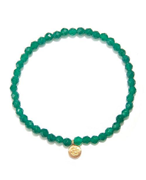 Satya Jewelry Green Onyx Gold Mini Ganesha Stretch Bracelet