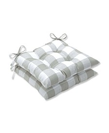 """Anderson Check 18.5"""" x 19"""" Tufted Outdoor Chair Pad Seat Cushion 2-Pack"""