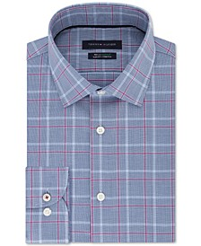 Men's Slim-Fit Performance Stretch Check Dress Shirt