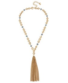 Mixed Pearl & Link Tassel Y-Shaped Necklace