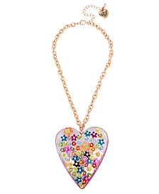 Betsey Johnson Mixed Flower Heart Pendant Necklace