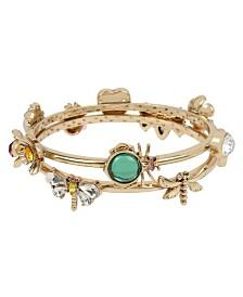 Betsey Johnson Bug & Flower Charm Bangle Bracelet Set