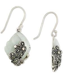 Jade (15 x 20 x 4mm) & Marcasite Flower Drop Earrings in Sterling Silver