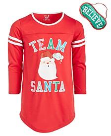 Big Girls Team Santa Nightgown & Eye Shade