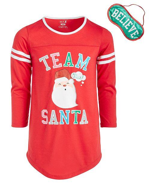 Max & Olivia Big Girls Team Santa Nightgown & Eye Shade