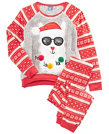 Big Girls 2-Pc. Fa La La Pajama Set With Faux-Sherpa Trim