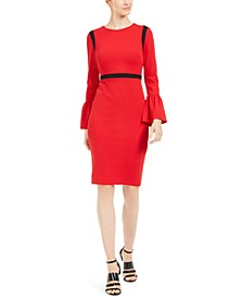 Color-blocked Bell-Sleeve Sheath Dress