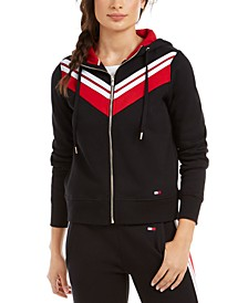 Chevron-Striped Zippered Hoodie