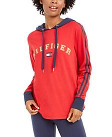 Striped-Sleeve Logo Hoodie