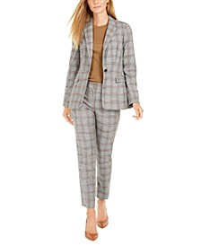 Two-Button Plaid Jacket, Short-Sleeve Cotton T-Shirt & Plaid Cropped Pants