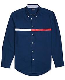 Men's Custom-Fit Jordy Oxford Print Magnetic Long Sleeve Button Down Shirt