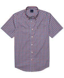 Men's Custom-Fit Louis Geometric Print Magnetic Short Sleeve Button Down Shirt