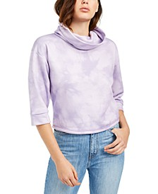 Cowl-Neck Tie-Dyed Sweatshirt