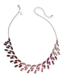 "INC Silver-Tone Marquise-Crystal Ombré Statement Necklace, 16"" + 3"" extender, Created For Macy's"