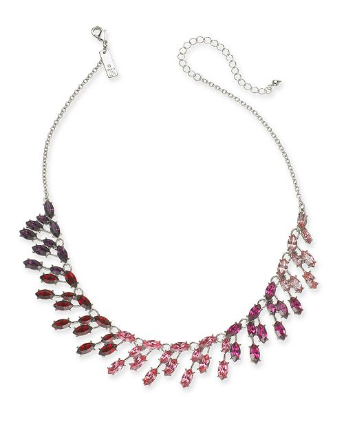 """INC International Concepts INC Silver-Tone Marquise-Crystal Ombré Statement Necklace, 16"""" + 3"""" extender, Created For Macy's"""