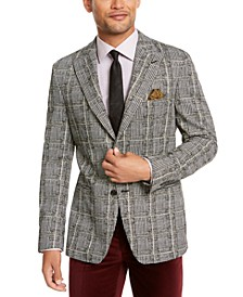 Orange Men's Slim-Fit Black/White Plaid Dinner Jacket
