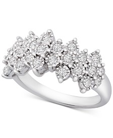 Diamond Cluster Statement Ring (1/2 ct. t.w.) in Sterling Silver