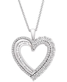 "Diamond Heart Adjustable 20"" Pendant Necklace (1/2 ct. t.w.) in Sterling Silver"