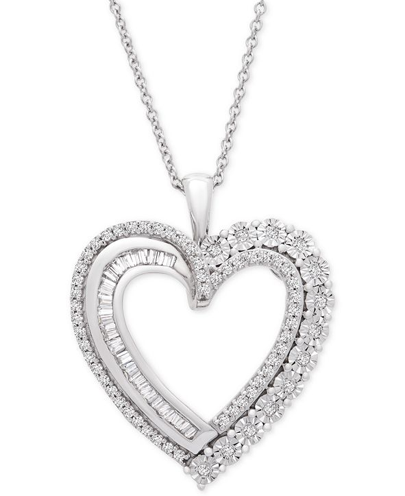 """Macy's Diamond Heart Adjustable 20"""" Pendant Necklace (1/2 ct. t.w.) in Sterling Silver"""
