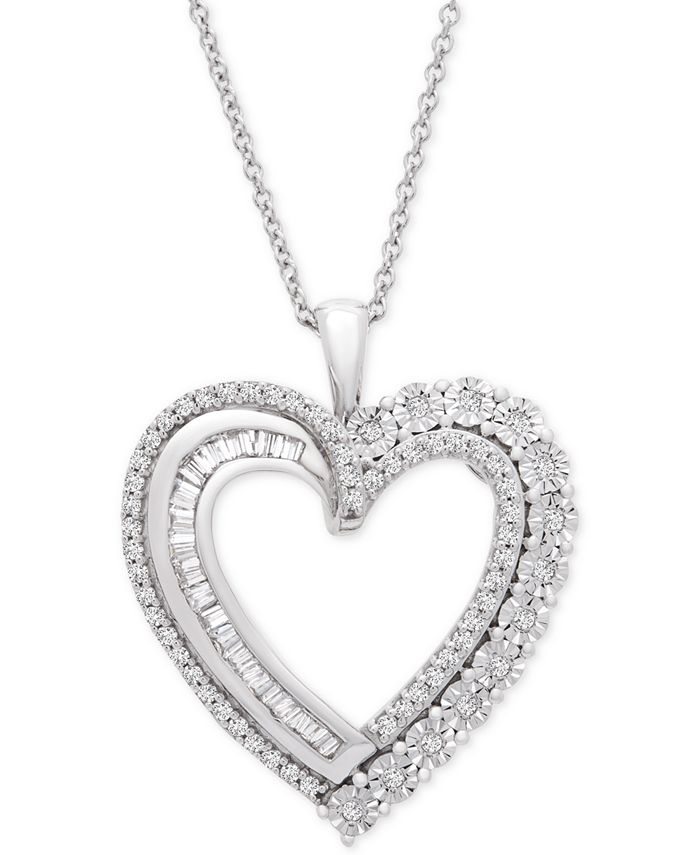 "Macy's - Diamond Heart 18"" Pendant Necklace (1/2 ct. t.w.) in Sterling Silver"