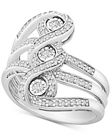 Diamond Three-Stone Statement Ring (1/4 ct. t.w.) in Sterling Silver