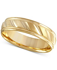 Men's Brushed & Milgrain Band in 14k Gold