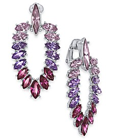 INC Silver-Tone Marquise-Crystal Clip-On Doorknocker Drop Earrings, Created For Macy's
