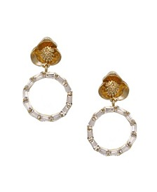 Gold Tone Flower Post Drop Earrings