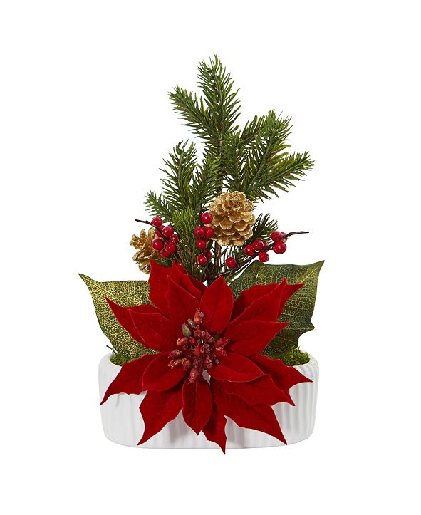 Nearly Natural Poinsettia, Berry and Pine Artificial Arrangement in White Vase