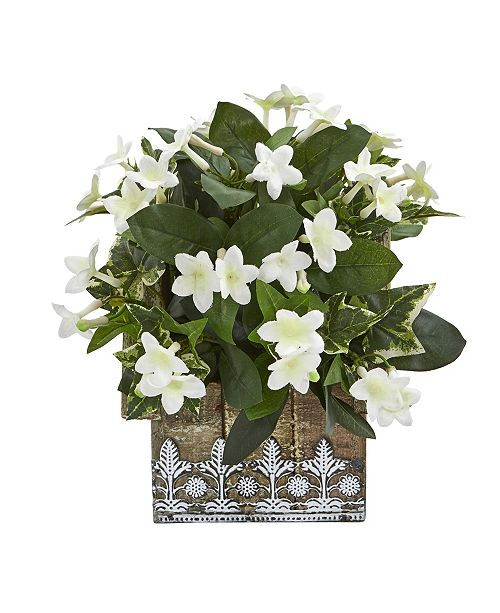 "Nearly Natural 10"" Mix Stephanotis and Ivy Artificial Plant in Hanging Floral Design House Planter"