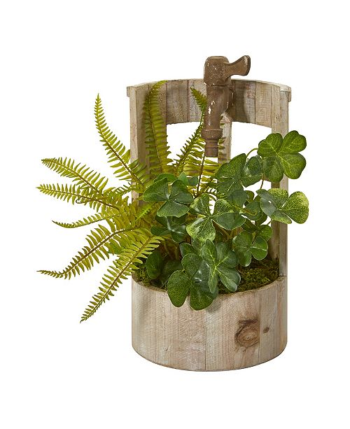 """Nearly Natural 12"""" Clover and Fern Artificial Plant in Faucet Planter"""