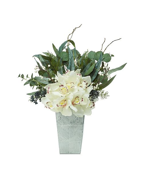 "Nearly Natural 21"" Cymbidium Orchid and Eucalyptus Artificial Arrangement"