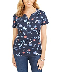 Floral-Print Short-Sleeve Henley Top, Created for Macy's