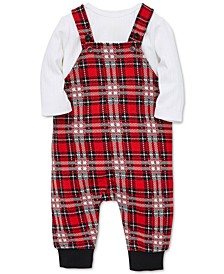 Baby Boys 2-Pc. T-Shirt & Plaid Overalls Set