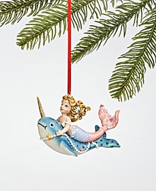 At the Beach Mermaid Riding Narwhal Ornament, Created for Macy's