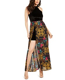 Halter Printed-Overlay Maxi Dress, Created For Macy's