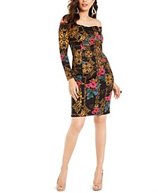 Printed Off-The-Shoulder Bodycon Dress, Created For Macy's