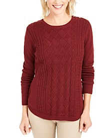 Petite Cable-Knit Button-Trim Sweater, Created For Macy's