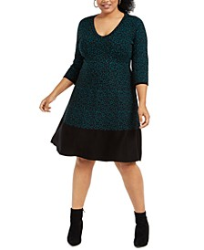 Plus Size Animal-Print Sweater Dress