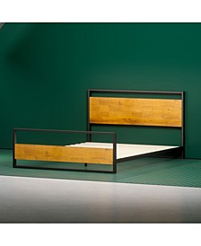 Suzanne Metal and Wood Platform Bed with Headboard and Footboard, Queen